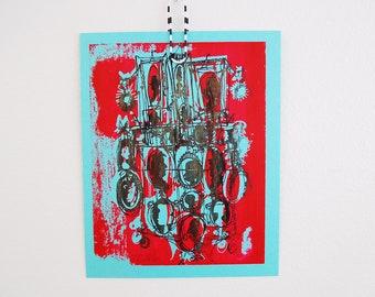 KAMEEN #107 | klassischen Stil Silhouetten in Used Look schwarz über rot auf blau Siebdruck (8 x 10)