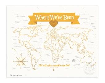 Where We've Been: World Map, Mustard Yellow Illustrated Art Print