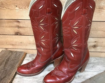 Women's Vintage Dingo Cowgirl Boots Vtg Rust Red Flower High Heel Western Boots Size 6 1/2