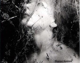 Haunting Portrait Art Photograph Black and White Dreamy Ethereal Woman Photograph 8x8 black and white decor