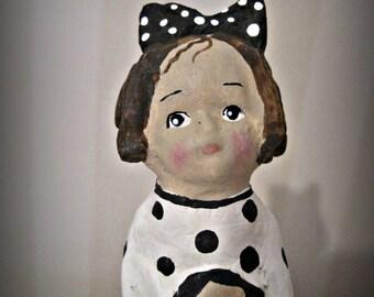 Little black and white girl with doll - clay art doll- paper mache - OOAK doll- handmade art - folk art spool doll