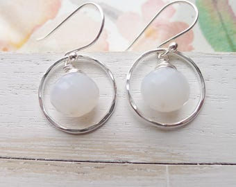 White Chalcedony Briolette Hammered Circle Sterling Silver Earrings