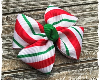 Christmas Bow - Infant Baby Toddler Large Pinwheel Hair Bow - READY TO SHIP