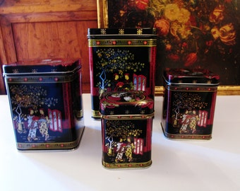 Four Chinoserie Tin Containers, Set of Four Lidded Boxes, Tea Caddy, Hollywood Regency, Storage Boxes, Home Office Decor