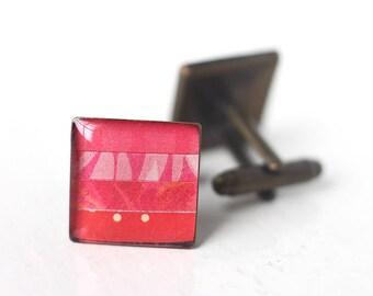 Red Men's Cufflinks, Stripes Square Cuff Link for Men, Women, Groom and Groomsmen