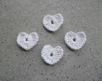 4 beautiful little hand made crochet hearts