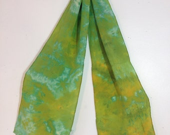 hand dyed silk scarf in vintage map