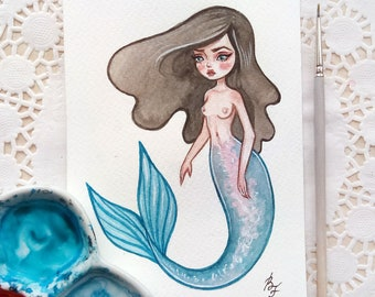 Original watercolor art in the format of a postcard. The Little Mermaid 2
