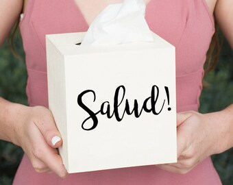 Salud! Wood Tissue Box Cover