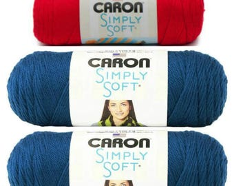 Caron Simply Soft Yarn Colors Ocean or Red