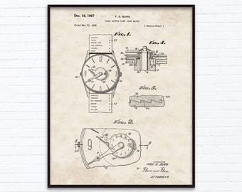 Push Button Time Zone Watch Patent Drawings-December Birthday Gift Ideas - Printable Posters of 4 Styles, INSTANT DOWNLOAD - 12/19/1967