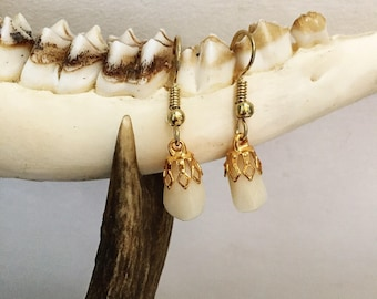 Silver or gold - human molar snowdrop earrings