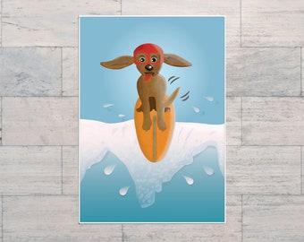 Surf Dog Taking the Drop, Dog on a Surfboard, Surf Lover Art, Dog Lover, Surfing Scene, Surf Art, Digital, Printable, Instant Download,