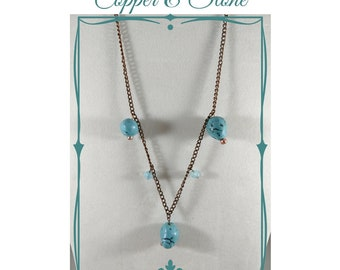 Copper and Stone, Beaded Necklace, Western Style, Howlite, Turquoise