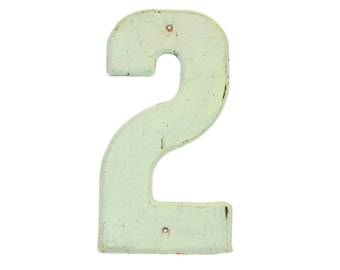 """7 1/2"""" Vintage Metal Number 2 White Holes - Marquee Signage Sign Sports Wedding House Address Birthday Numbers Kid's Birthday Party Decor"""