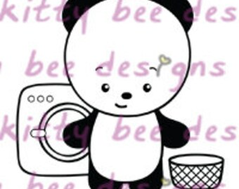 Wash Day Panda Digital Stamp