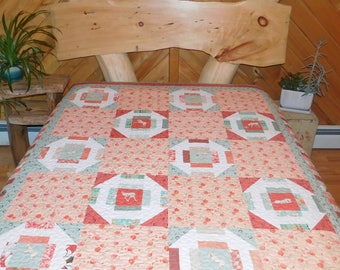 Handmade Coral and Sage Green Horse Quilt/ Large Throw or Twin Size
