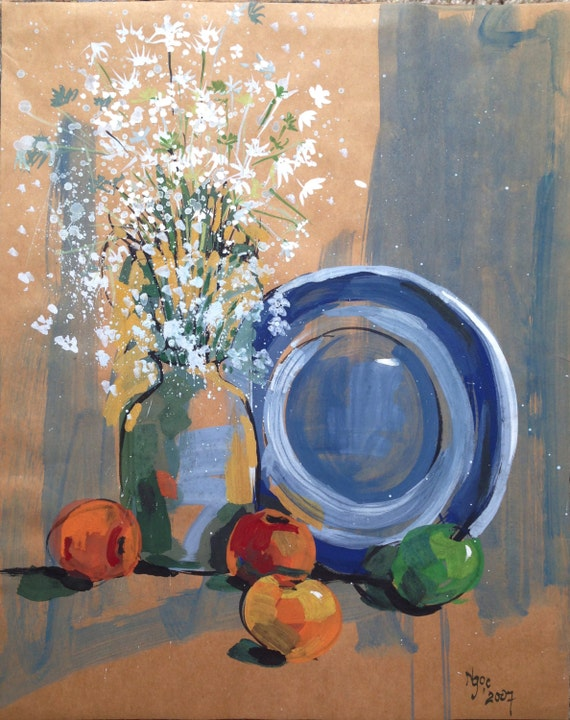 """STILL LIFE BOUQUET 16x20"""" gouache on paper, flowers, floral wall decor, original painting by Nguyen Ly Phuong Ngoc"""
