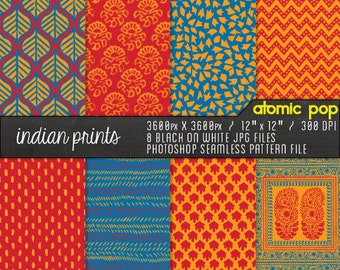 Instant Download // Colorful Indian Fabric Patterns Digital Paper Pack// Seamless Photoshop
