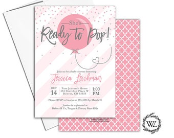 Ready to pop baby shower invitation for a girl, pink and gray baby shower invites, stripes, confetti with envelopes - PRINTED - WLP00774