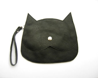 Leather Cat head shaped purse,hand stitched leather clutch, wristle bag,crossbody purse, crazycatlady gift idea