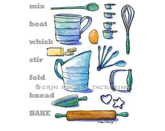 Mix Beat Whisk Baking Kitchen Art print 8x10