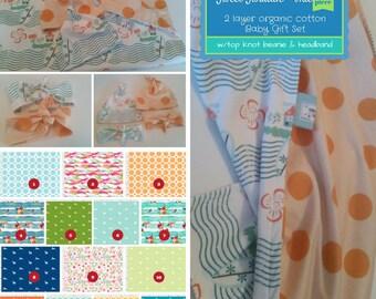 Sweet Swaddle Baby Gift Set - Organic Cotton Reversible Baby Blanket & Newborn Beanie/Headband Set -Watercolor Floral Deer Creatures - BLUE