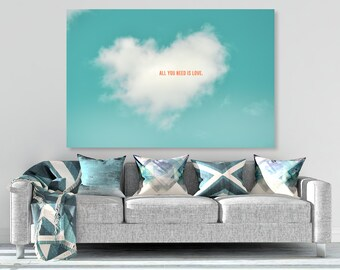"""large canvas wall art, large wall art, large colorful wall art, large wall art, large art, clouds, large canvas art - """"All You Need is Love"""""""