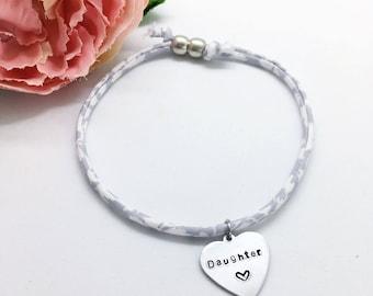 Personalised adults 'Daughter' Liberty bracelet | Gifts for women | Gifts for daughter | Personalised gifts | Fabric bracelet