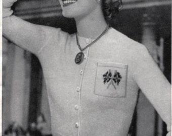Coronation Cardigan Sweater to Knit - Flags, Crown, Roses Pocket - PrettyPatternsPlease