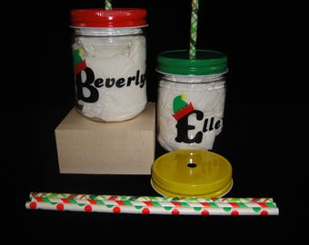 Christmas Plastic Mason Jars with Straws, Personalized Mason Jars, Xmas Mason Jars, Elf Cups, Straw Hole Lids, Kids Party Cups- 12 oz jars