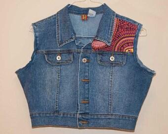 Ladies L Denim Vest, Cropped, Boho Design Floral Embroidery Bling