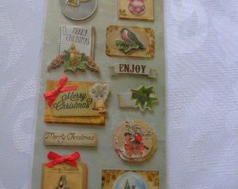Board Stickers 3D adhesive fabric Christmas CHRISTMAS embellishment