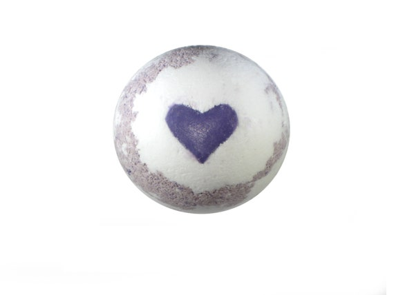 LAVENDER LOVE Bath Bomb - All NATURAL Bath Fizzer with Pink Himalayan Salt, Purple Brazilian Clay, Cocoa Butter & Essential Oil / Vegan