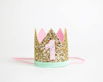 1st Birthday Girl Outfit for Cake Smash | First Birthday Crown | Baby Girl First Birthday Outfit | 1st Birthday Hat | Gold Baby Pink Mint