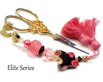 Coral Black Scissor Fob, Butterfly Scissor Minder, Beaded Scissor Keeper, Elite Series, Needlepoint, Quilting Accessory, Sewing,Cross Stitch