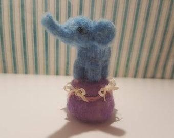 Sweet little circus elephant needle felted