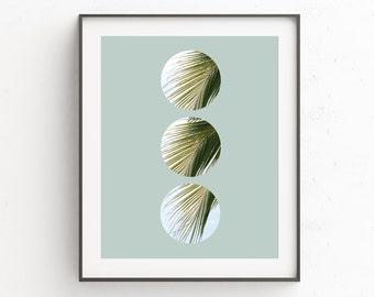 Plant Art, Palm Leaves, Palm Prints, Leaf Print, Plant Decor, Tropical Art, Circle Print, Tropical Leaves, Green Decor, Green Art, Plants