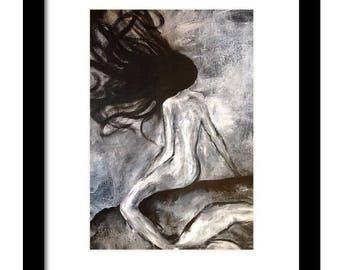 Art print, mermaid painting,mermaid artwork,mermaid decor,wall decor,beach theme art,original artwork,black and white art,mermaid art
