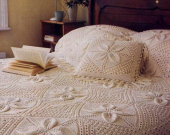 Download PDF Knitting pattern - Blanket/Afghan/Bedspread/Counterpane/Cushion = Beautiful vintage pattern