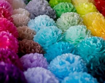18 mixed size tissue paper Pompoms set - pick your colors - fullest pompoms