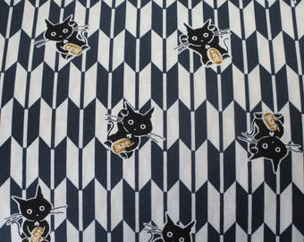 Fabric Japanese yagasuri arrows patterns manekineko blue 50 x 55 cm