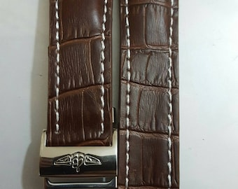22mm Breitling brown genuine leather strap with stainless steel deployment clasp fits to navitimer breitling watches.