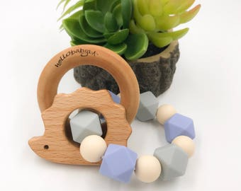 Silicone Teether with Wooden Ring Rattles | Double Ring Teether | Baby Shower Gift | Teething Baby | Serenity Blue | Light Grey Hedgehog
