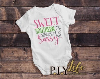 Kids   Sweet Southern and Seriously Sassy Kids Bodysuit DTG Printing on Demand