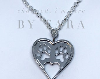 Paw Print Heart Charm Necklace