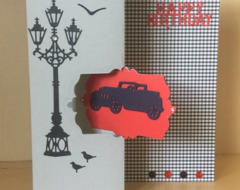 Happy Birthday Flip card with vintage car