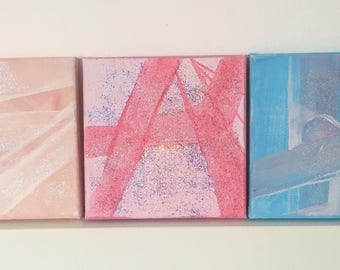 Sarkok- Pastel Glitter Trio Acrylic Mini Painting on Canvas