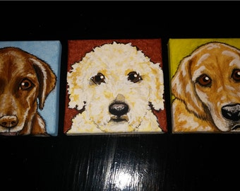 Set of Three Custom Pet Portrait Paintings size 4x4