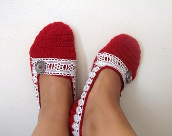 Red Crochet Slippers with Lace-Adult Size